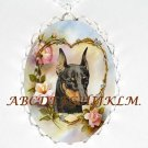 DOBERMAN PINCHER DOG ROSE HEART PORCELAIN NECKLACE