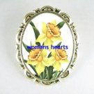 3 BEAUTIFUL DAFFODIL FLOWER PORCELAIN CAMEO BROOCH PIN