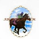 CHAMPION BARBARO HORSE RACING CAMEO PORCELAIN PENDANT PIN BROOCH 23-3