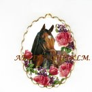 BARBARO HORSE ROSE VIOLET CAMEO PORCELAIN PENDANT PIN BROOCH