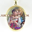 VICTORIAN MOM DAUGHTER CAT PORCELAIN LOCKET NECKLACE