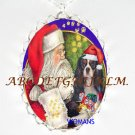 SANTA CAVALIER King Charles Spaniel DOG CAMEO NECKLACE