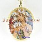 ART NOUVEAU ALPHONSE MUCHA PORCELAIN CAMEO LOCKET -5