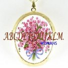 VICTORIAN PINK FORGET ME NOT PORCELAIN CAMEO LOCKET