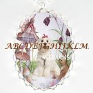 MALTESE DOG FAIRY & RABBIT CAMEO PORCELAIN NECKLACE