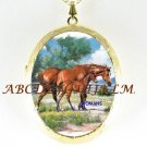 ARABIAN HORSE AND COLT PORCELAIN CAMEO LOCKET NECKLACE