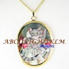 VICTORIAN QUEEN KITTY CAT FAN CAMEO PORCELAIN NECKLACE