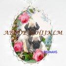 2 SWEET PUG DOG ROSE PORCELAIN CAMEO NECKLACE