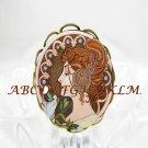 ART NOUVEAU ALPHONSE MUCHA 7-1 PORCELAIN CAMEO RING ADJ 5-9