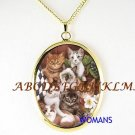 KITTY CAT FRIENDS COLLAGE PORCELAIN CAMEO NECKLACE