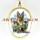 GERMAN SHEPHERD FAMILY PORCELAIN CAMEO LOCKET NECKLACE