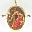 VICTORIAN GODDESS COUPLE CAMEO PORCELAIN LOCKET