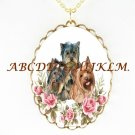 3 YORKSHIRE TERRIER  PUPPY DOG ROSE CAMEO NECKLACK