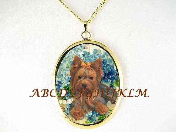 YORKSHIRE TERRIER FORGET MENOT CAMEO PORCELAIN NECKLACE