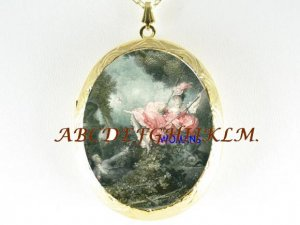 VICTORIAN COUPLE PLAY SWING CAMEO PORCELAIN NECKLACE