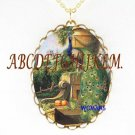 PEACOCK BIRD FLORAL GARDEN CAMEO PORCELAIN NECKLACE