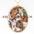 KITTY CAT COLLAGE FLOWER PORCELAIN CAMEO NECKLACE