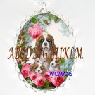 3 CAVALIER KING CHARLES SPANIEL ROSE PORCELAIN NECKLACE