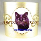 SWEET BLACK CAT PORCELAIN CAMEO BANGLE CUFF BRACELET