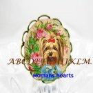 YORKSHIRE TERRIER DOG ROSE PORCELAIN CAMEO RING 5-9