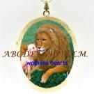 RELIGIOUS LION & LAMB CAMEO PORCELAIN LOCKET NECKLACE