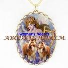 2 COLLIE DOG WITH ANGEL CAMEO PORCELAIN NECKLACE