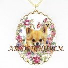 LONG HAIR CHIHUAHUA PANSY ROSE PORCELAIN CAMEO NECKLACE