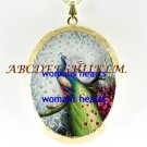 2 WHITE PEACOCK FLORAL PORCELAIN CAMEO LOCKET NECKLACE