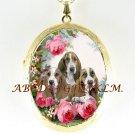 3 BASSET HOUND PUPPY DOG ROSE CAMEO PORCELAIN LOCKET NECKLACE