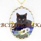 BLACK CAT PANSY BASKET CAMEO PORCELAIN PENDANT NECKLACE