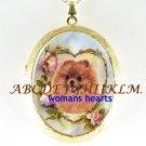 POMERANIAN DOG ROSE HEART PORCELAIN LOCKET NECKLACE