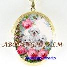 3 MALTESE PUPPY DOG ROSE PORCELAIN LOCKET NECKLACE