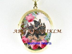 3 GERMAN SHEPHERD PUPPY DOG ROSE PORCELAIN LOCKET NK