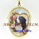 BERNESE MOUNTAIN DOG ROSE PORCELAIN LOCKET NECKLACE