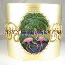2 FLAMINGO BIRD PALM TREE 3D CAMEO CUFF BANGLE BRACELET