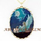 RARE PUG DOG WITH ANGEL MOON PORCELAIN CAMEO NECKLACE