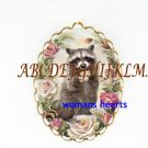 RACCOON HOLDING PINK ROSE PORCELAIN CAMEO PIN BROOCH