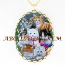 KITTY CAT COLLAGE LILY VALLEY PORCELAIN CAMEO NECKLACE