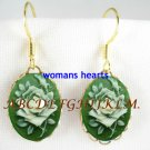 VINTAGE VICTORIAN IRISH GREEN ROSE 3D CAMEO EARRINGS
