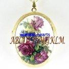 VICORIAN PURPLE ROSE VIOLET CAMEO PORCELAIN LOCKET