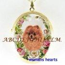 SMILING POMERANIAN DOG ROSE PORCELAIN LOCKET NECKLACE