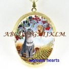 KITTY CAT SQUIRREL BERRY PORCELAINCAMEO LOCKET NECKLACE