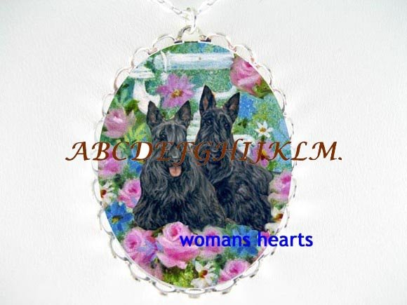 2 SCOTTISH TERRIER DOG ROSE BUTTERFLY CAMEO NECKLACE