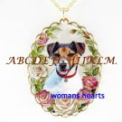 JACK RUSSELL DOG PINK ROSE PORCELAIN CAMEO NECKLACE