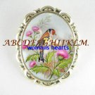 PINK THISTLE WITH BIRD PORCELAIN CAMEO PIN BROOCH