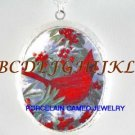 CHRISTMAS RED CARDINAL BIRD WITH HOLLY BERRY * CAMEO PORCELAIN LOCKET NECKLACE