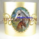 MARES FOAL HORSE CUDDLING PORCELAIN CAMEO CUFF BRACELET