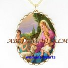 MADONNA AND CHILD LAMB ANGEL PORCELAIN CAMEO NECKLACE