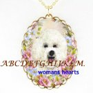 BICHON FRISE DOG ROSE DAISY PORCELAIN CAMEO NECKLACE