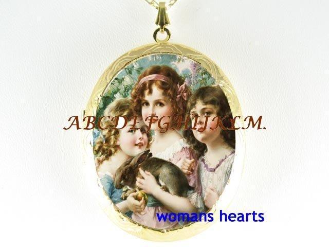 3 VICORIAN GRACES SISTERS RABBIT BUNNY CAMEO LOCKET